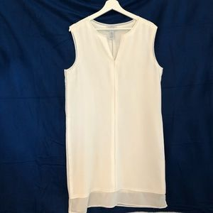 Carmen Marc Valvo Sleeveless White Shift Dress LG